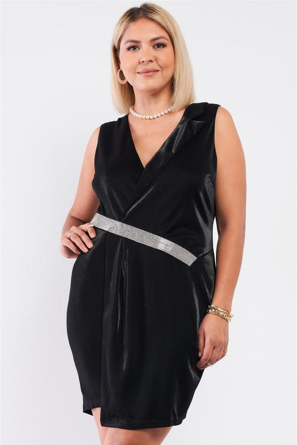plus black velvet wrap dress