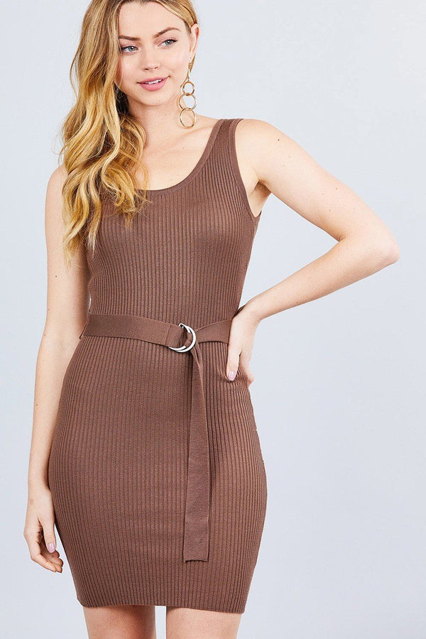 Sleeveless W/belt Sweater Dress - Chocolate - DRESSES - NIGEL MARK