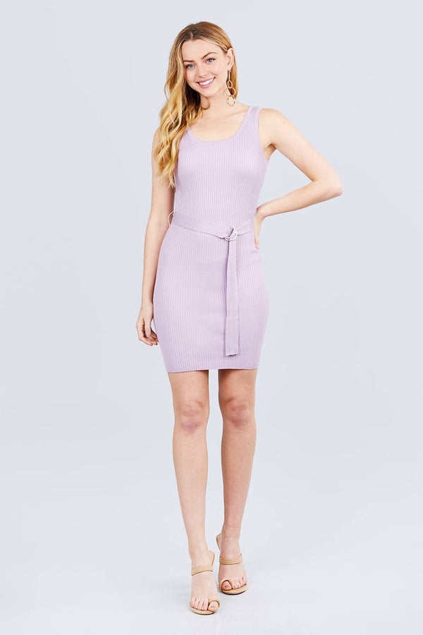 Sleeveless W/belt Sweater Dress - Light Mauve - DRESSES - NIGEL MARK