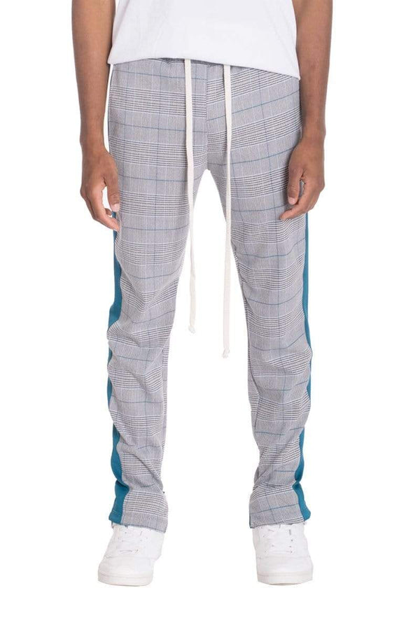 Slight Plaid Track Pants - Teal - MEN BOTTOMS - NIGEL MARK