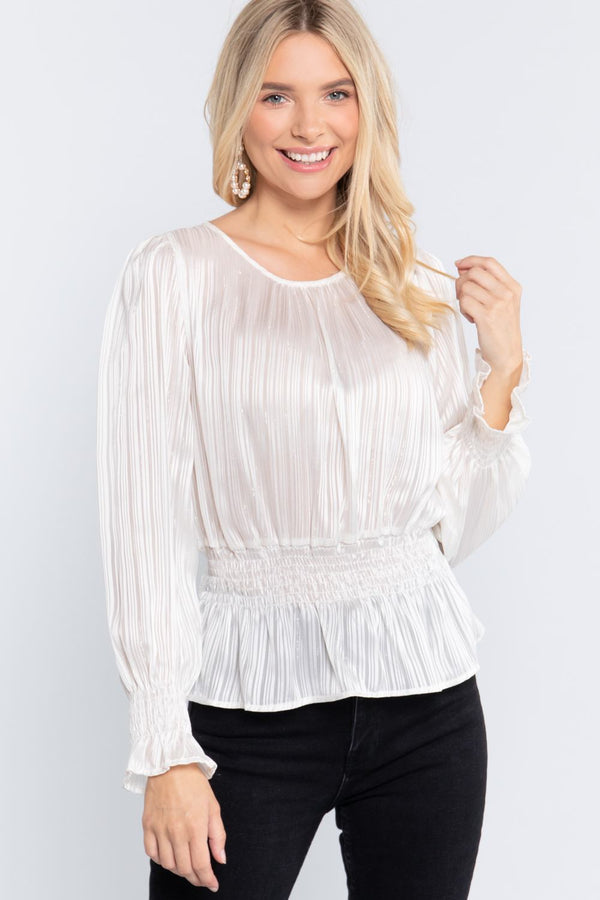 Smocked Ruffle Sleeve Blouse - Ivory - WOMEN TOPS - NIGEL MARK