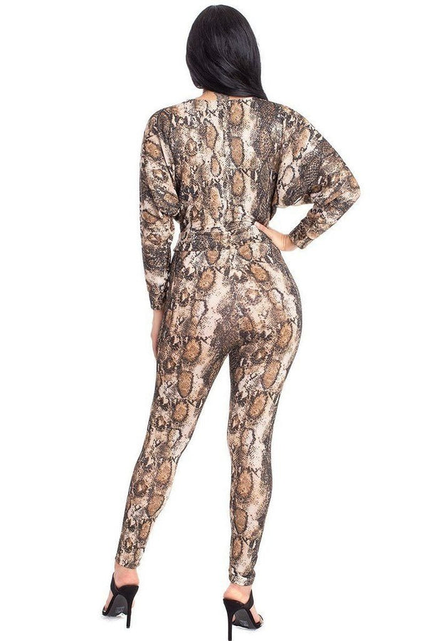 Snake Dolman Sleeve Jumpsuit - JUMPSUITS & ROMPERS - NIGEL MARK