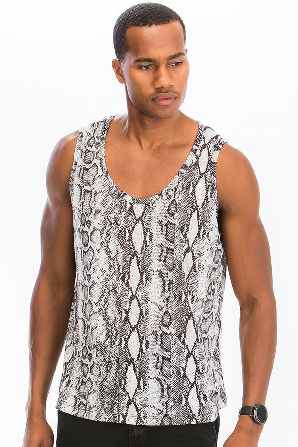 Snake Print Tank - Grey - MEN TOPS - NIGEL MARK