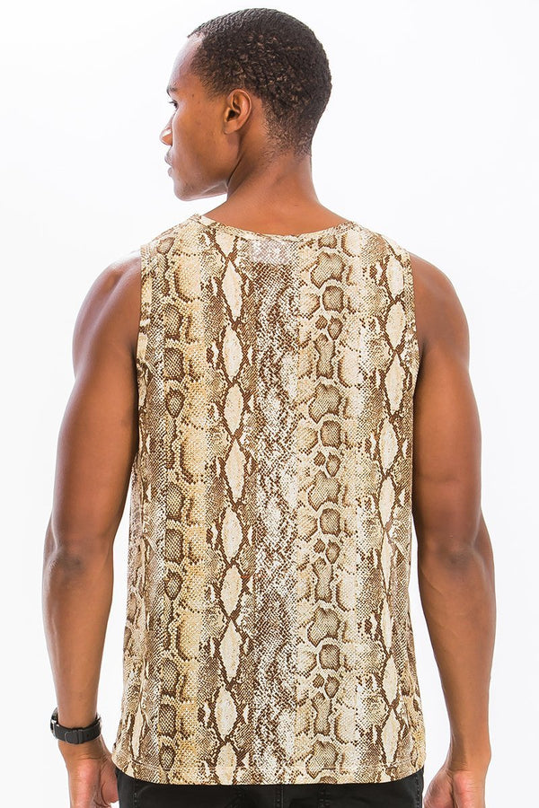 Snake Print Tank - Yellow - MEN TOPS - NIGEL MARK
