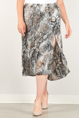 Snakeskin Print Skirt With High Waist, Button Trim, And Side Slit - NIGEL MARK