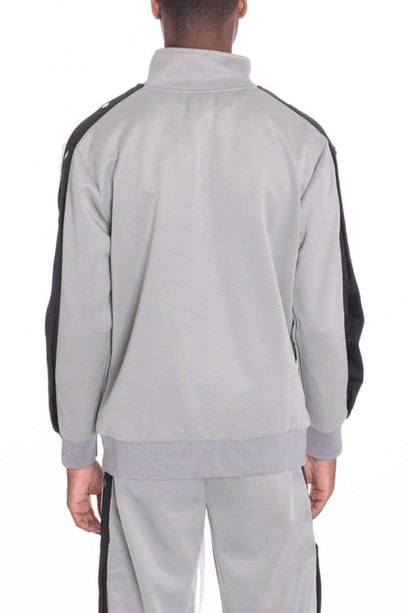 Snap Button Track Jacket - Grey - JACKETS & COATS - NIGEL MARK