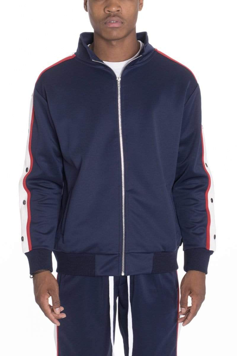 Snap Button Track Jacket - Navy - JACKETS & COATS - NIGEL MARK
