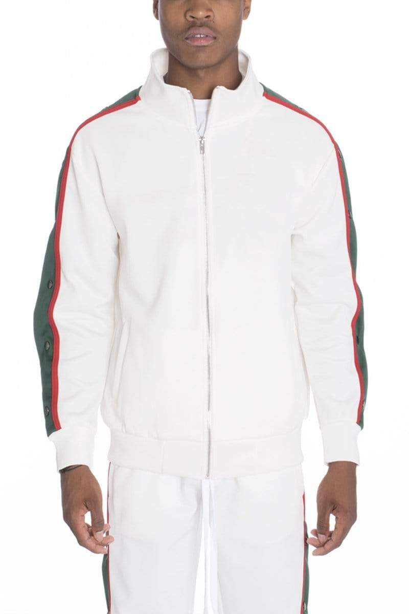 Snap Button Track Jacket - White - JACKETS & COATS - NIGEL MARK