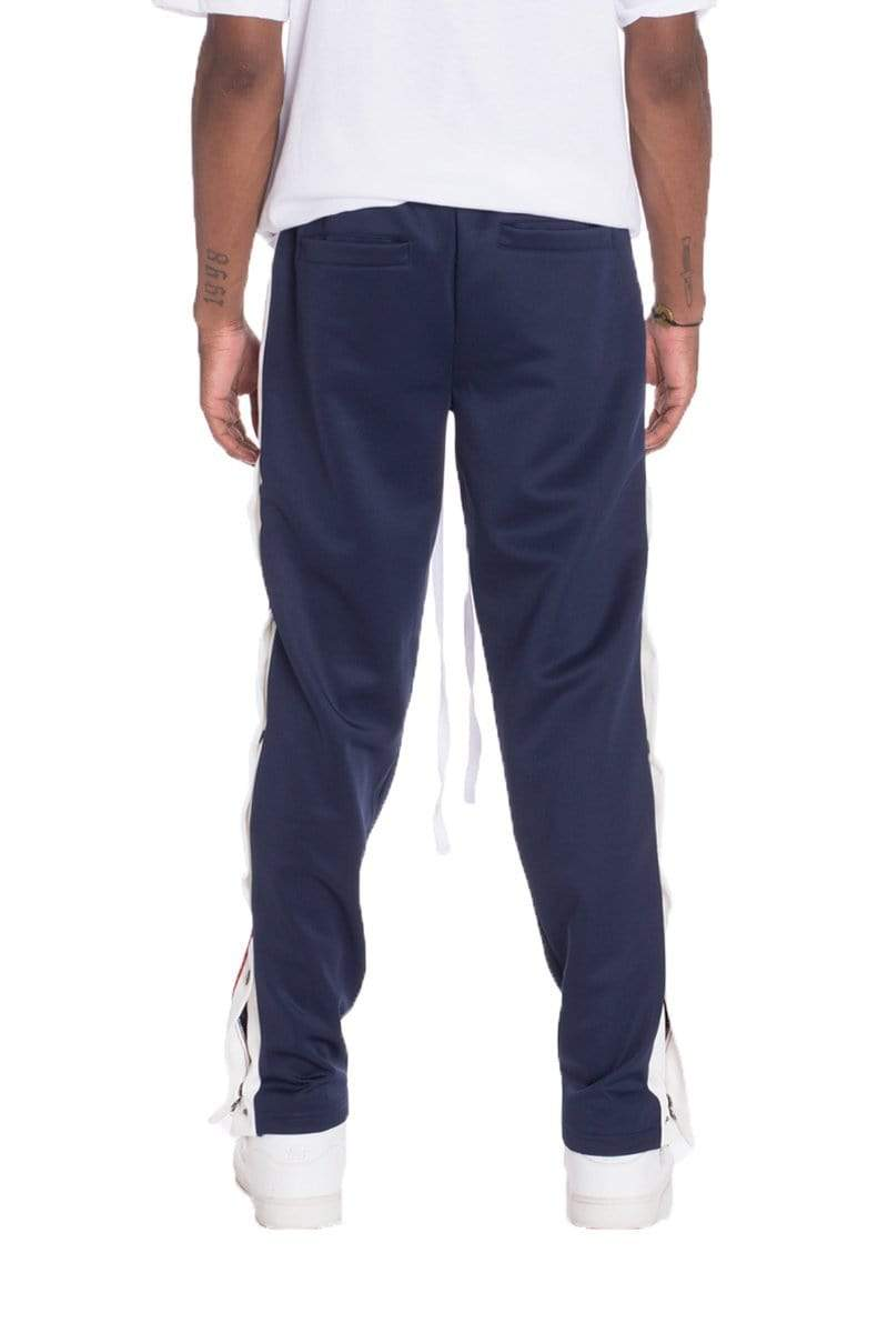 Snap Button Track Pants - Navy - MEN BOTTOMS - NIGEL MARK