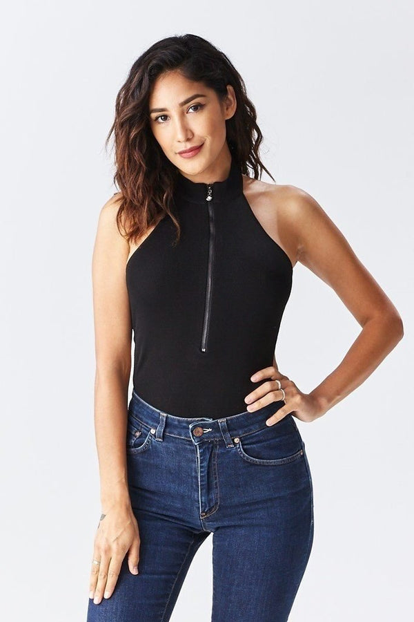 Solid Choker Bodysuit - WOMEN TOPS - NIGEL MARK
