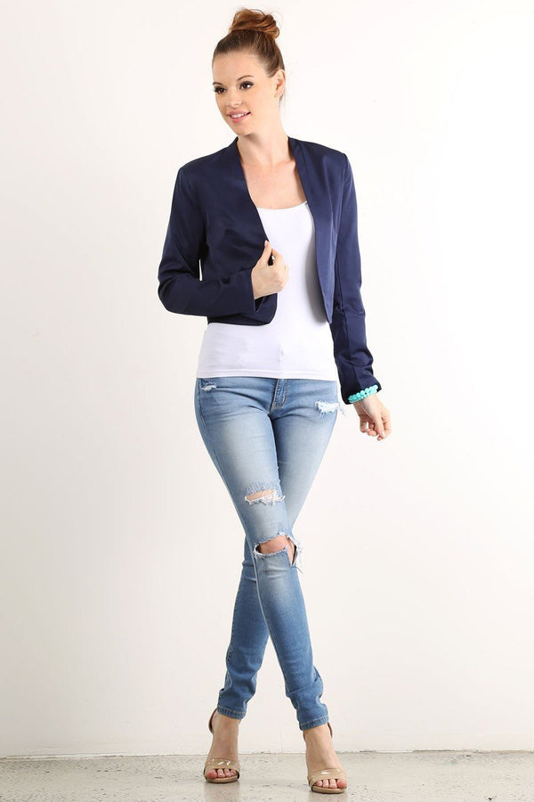 Solid Crop Buttonless Blazer - Women's Clothing - NIGEL MARK