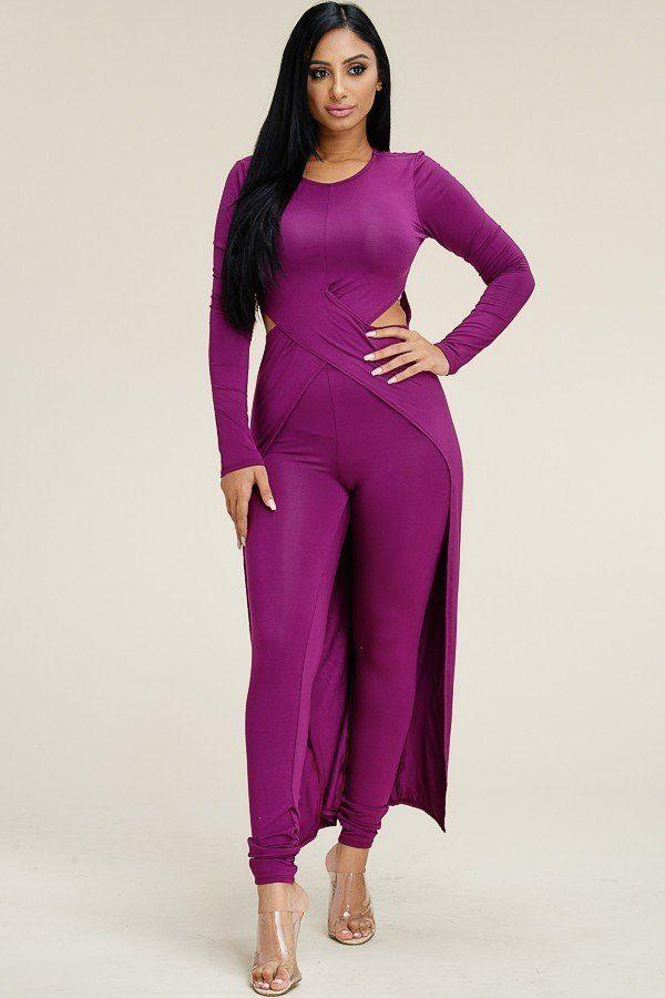 Solid Heavy Rayon Spandex Long Sleeve Crossed Over Long Top And Leggings 2 Piece Set - NIGEL MARK