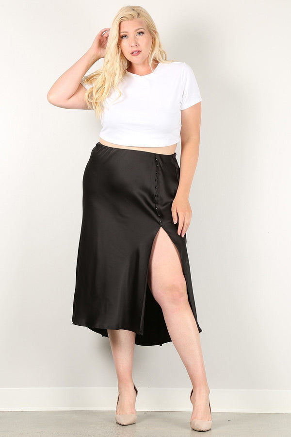 Solid High-waist Skirt With Button Trim And Side Slit - NIGEL MARK