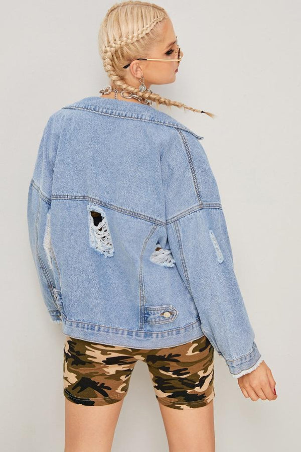 Solid Ripped Denim Jacket - WOMEN JACKETS - NIGEL MARK