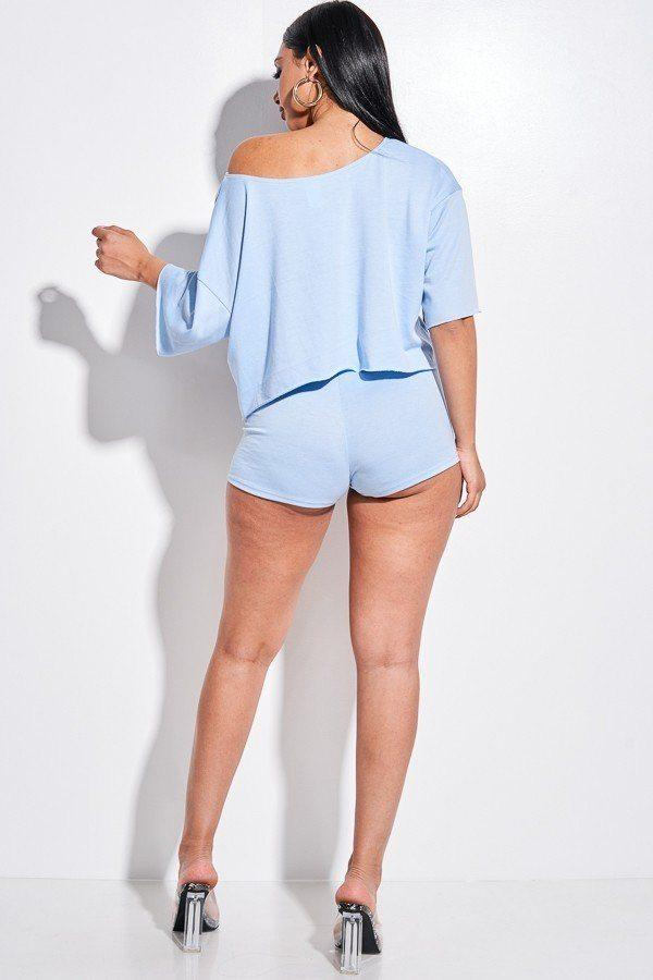 Solid Slouchy Two Piece Set - Blue - WOMEN MATCHING SETS - NIGEL MARK
