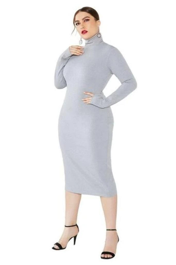 Solid Turtleneck Midi Dress - PLUS DRESSES - NIGEL MARK