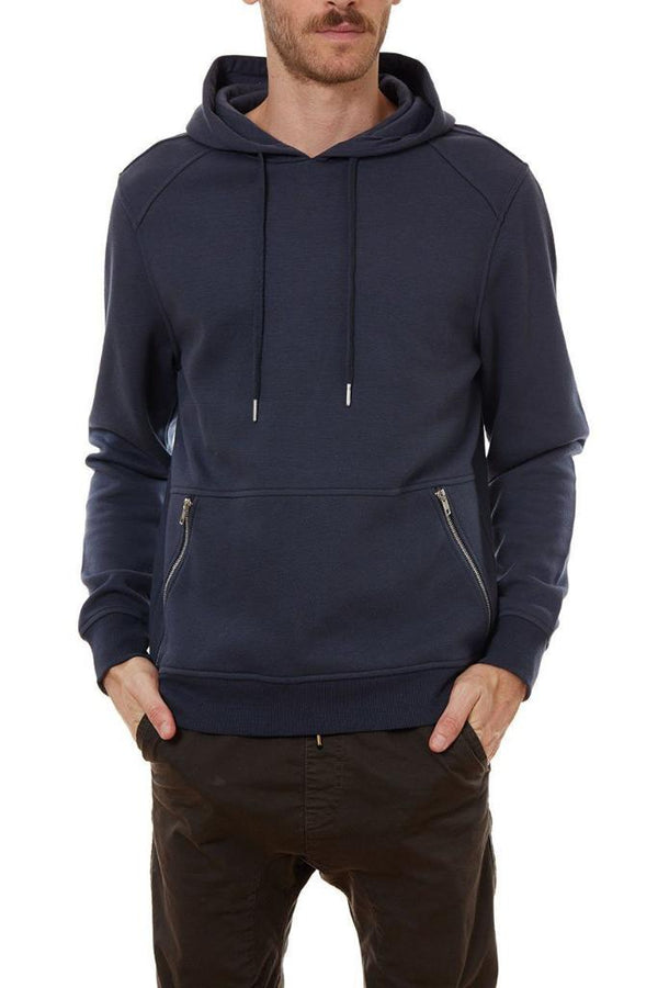 Space Blue Zip Up Pockets Hoodie - Men's Clothing - NIGEL MARK