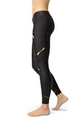 Sports Stripes Black Leggings - BOTTOMS - NIGEL MARK