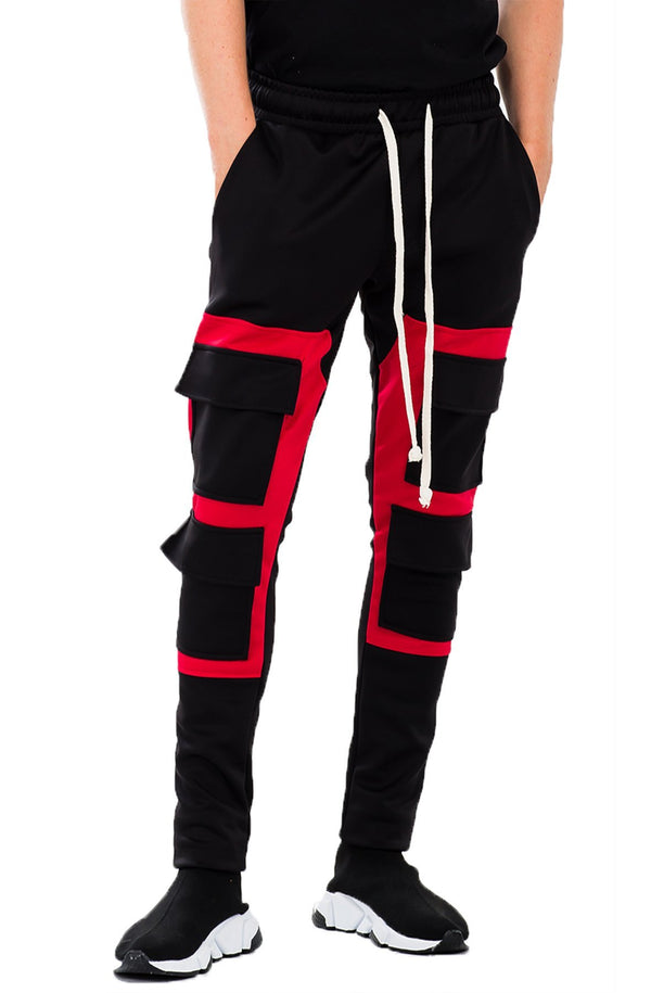 Square Block Track Pant - Red - MEN BOTTOMS - NIGEL MARK