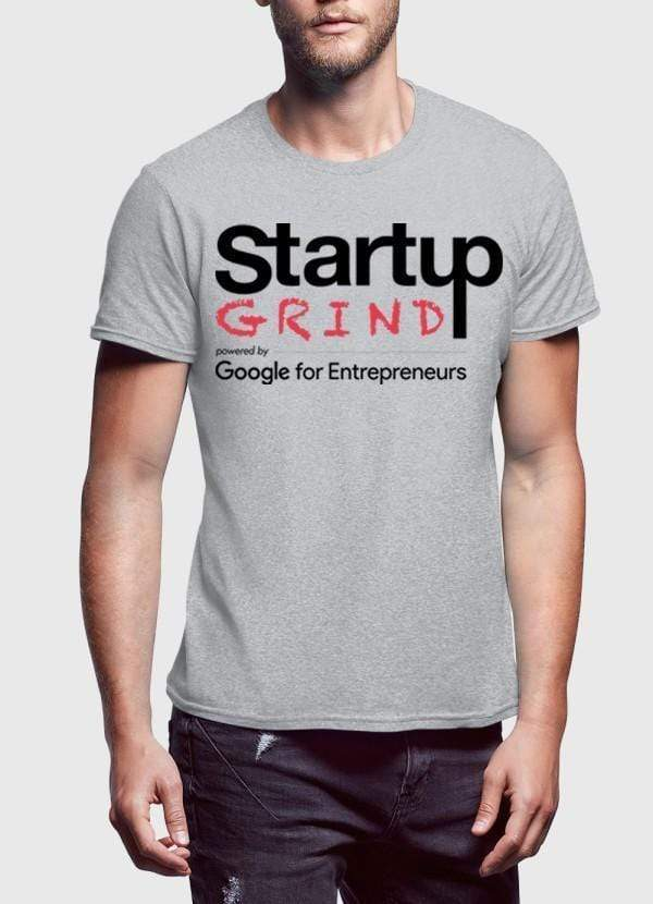 Startup Grind Grey Half Sleeves Round Neck - MEN TOPS - NIGEL MARK
