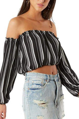 Stripe Crop Top Black - WOMEN TOPS - NIGEL MARK