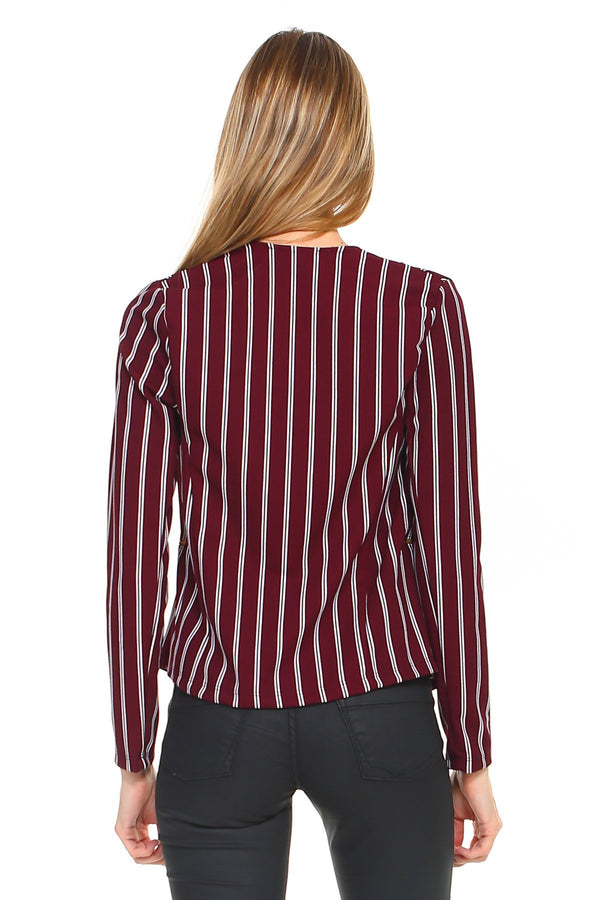 Stripe Zipper Detail Blazer - Women's Clothing - NIGEL MARK