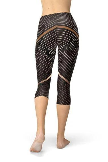 Striped Lines Sports Capri Leggings - BOTTOMS - NIGEL MARK