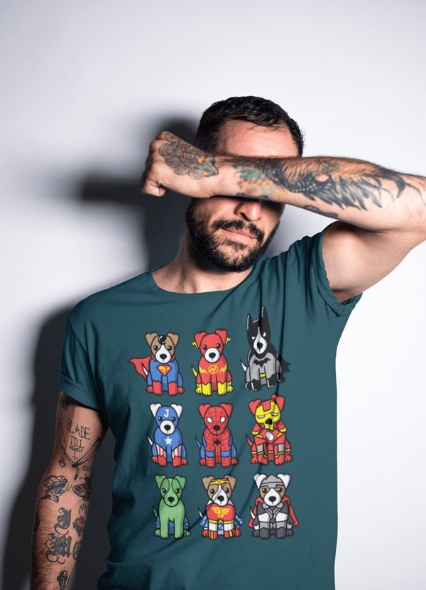 Super Heroes Dogs T-shirt - MEN TOPS - NIGEL MARK