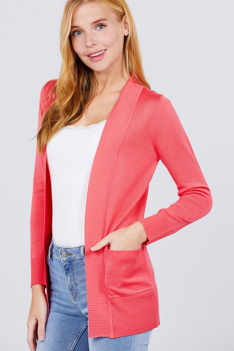Sweater Cardigan W/pockets - Bright Pink - WOMEN TOPS - NIGEL MARK