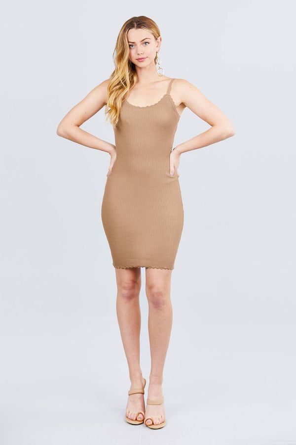 Sweater Knit Mini Dress - Khaki - DRESSES - NIGEL MARK