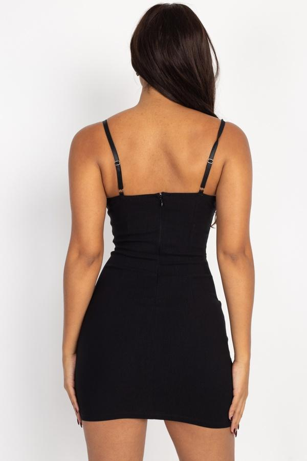 black cami mini dress