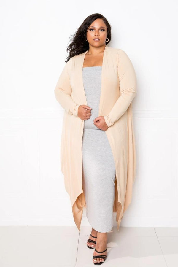Tan Hem Waterfall Cardigan - PLUS TOPS - NIGEL MARK