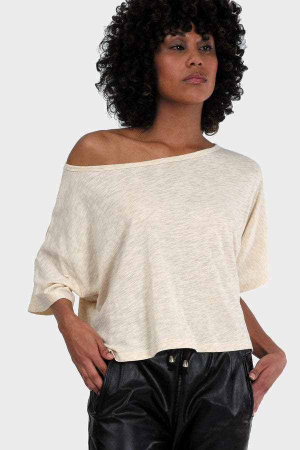 Tan Off Shoulder Crop Top - Tops & Blouses - NIGEL MARK