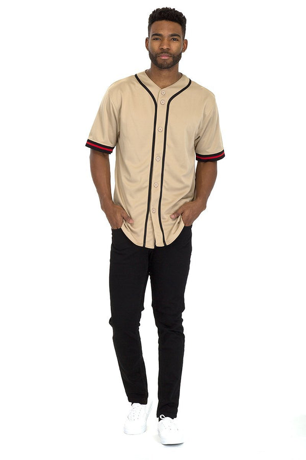 Taped Baseball Jersey - Khaki - Men's Clothing - NIGEL MARK