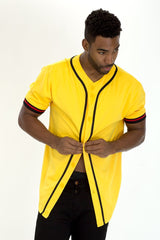 TAPED BASEBALL JERSEY - YELLOW - MEN TOPS - NIGEL MARK