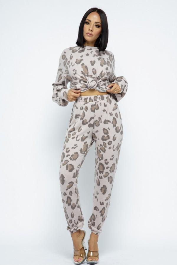 Taupe Animal Sweatpants Set - MATCHING SETS - NIGEL MARK