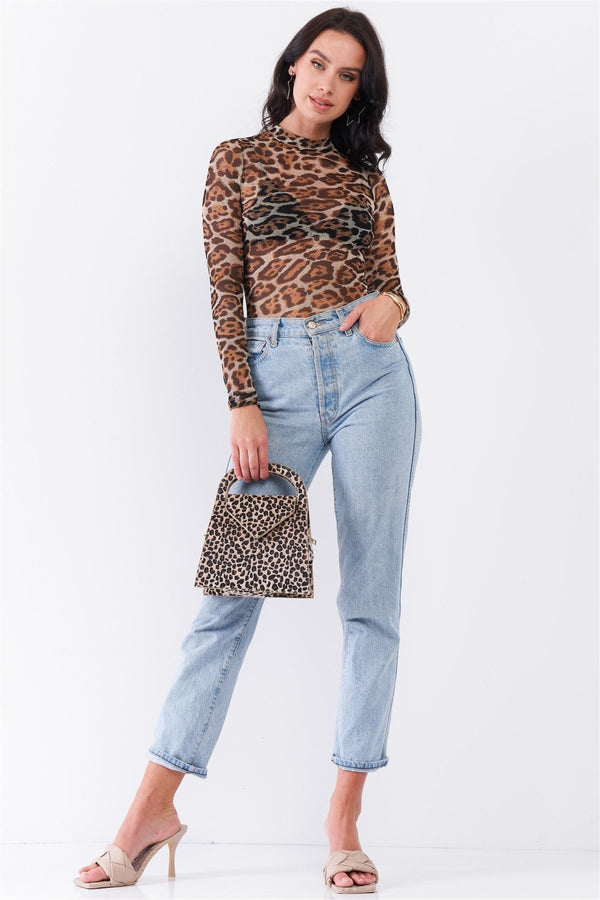 Taupe Brown Jaguar Print Bodysuit - WOMEN TOPS - NIGEL MARK