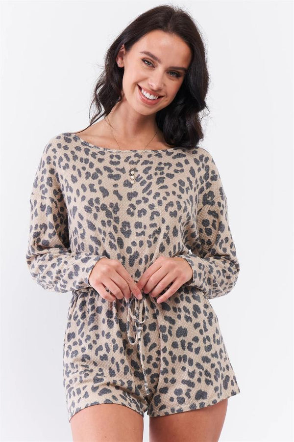 Taupe Leopard Tie Waistline Romper - WOMEN MATCHING SETS - NIGEL MARK