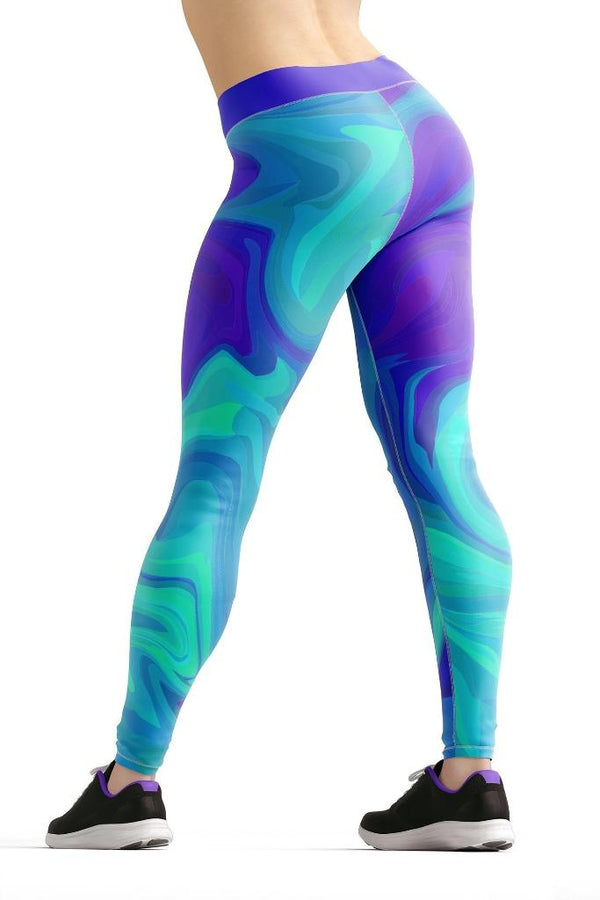 Teal Liquid Beverly Leggings - PLUS ACTIVEWEAR - NIGEL MARK