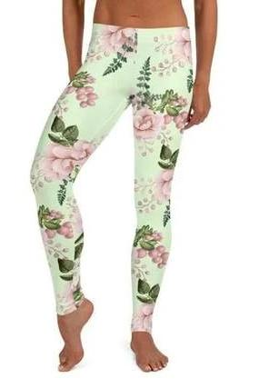 Teal Pink Floral Leggings - BOTTOMS - NIGEL MARK