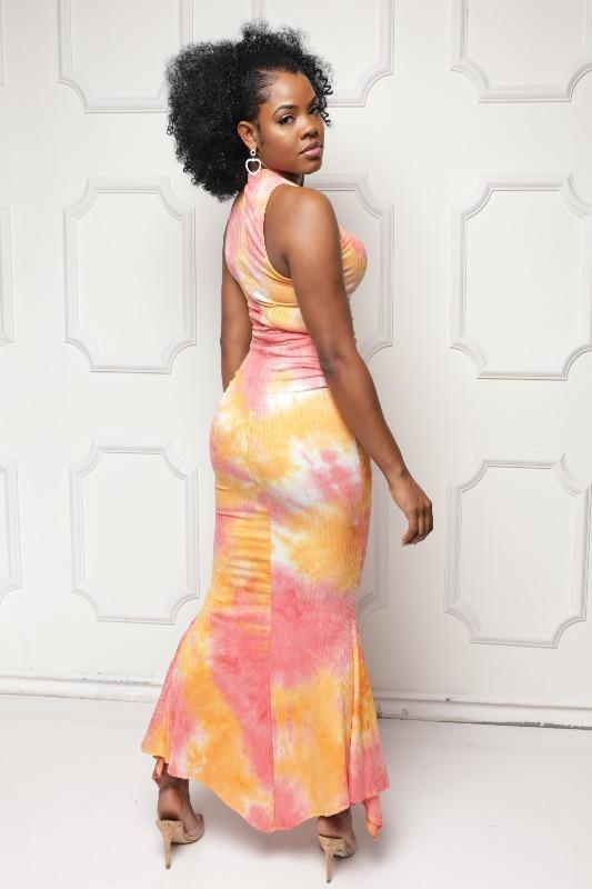 Tie Dye Maxi Dress - Orange - DRESSES - NIGEL MARK
