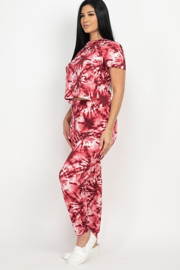 Tie-dye Printed Pants Set - Burgundy - MATCHING SETS - NIGEL MARK