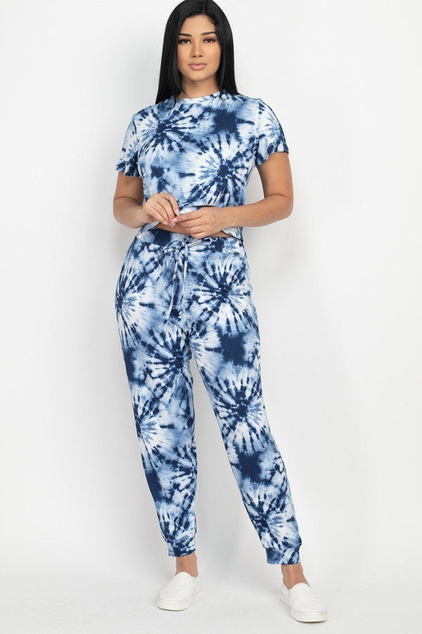 Tie-dye Printed Pants Set - Navy - MATCHING SETS - NIGEL MARK