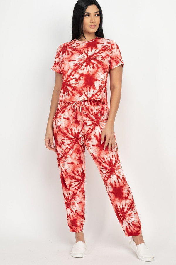 Tie-dye Printed Pants Set - Rust - MATCHING SETS - NIGEL MARK