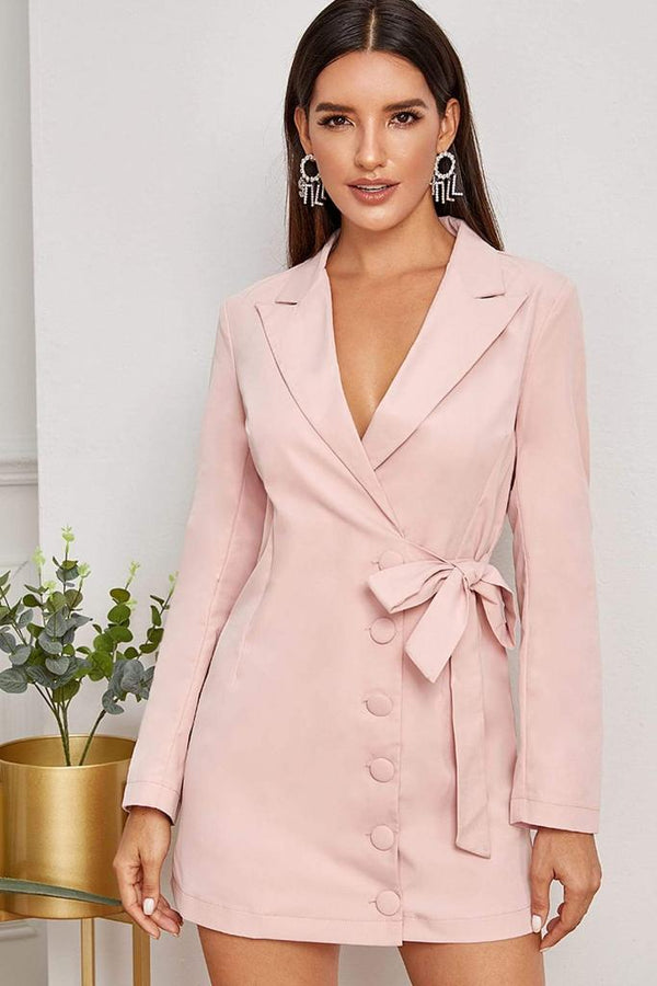 Tie Side Wrap Blazer Dress - DRESSES - NIGEL MARK