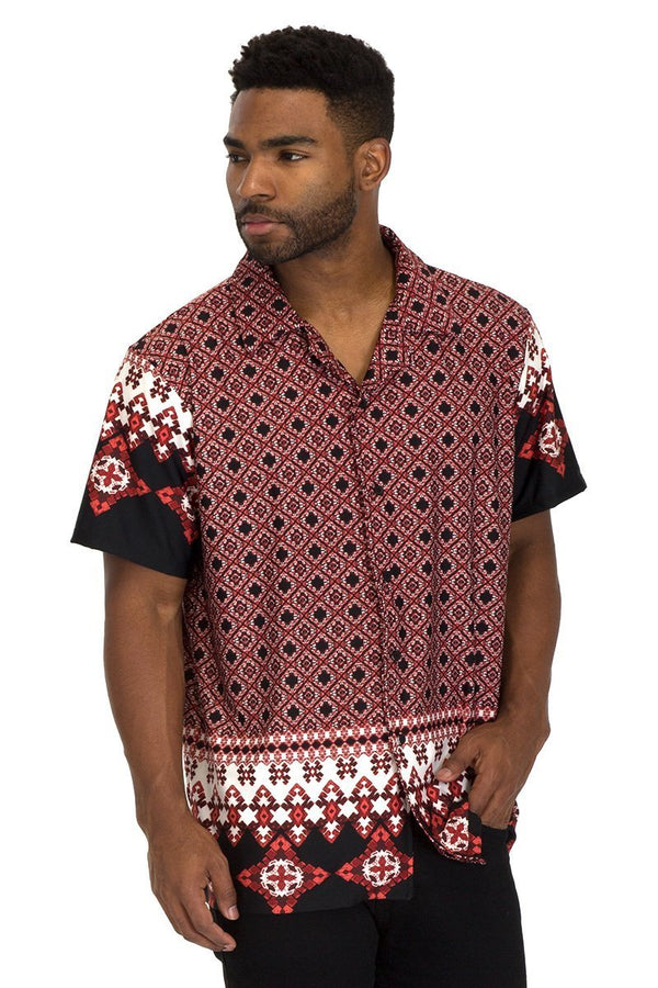 TRIBAL BUTTON DOWN SHIRT - Men's Clothing - NIGEL MARK