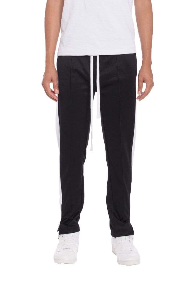 Tricot Striped Track Pants - Black - MEN BOTTOMS - NIGEL MARK