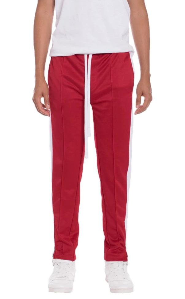 Tricot Striped Track Pants - Red - MEN BOTTOMS - NIGEL MARK