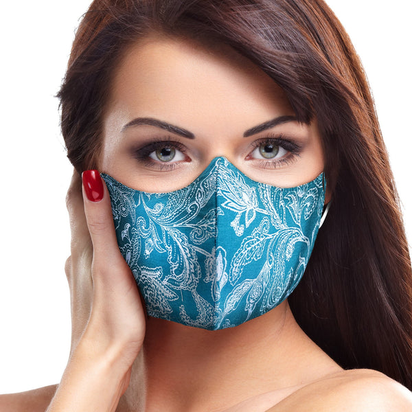 Turquoise Paisley Floral Face Mask - BEAUTY & WELLNESS - NIGEL MARK