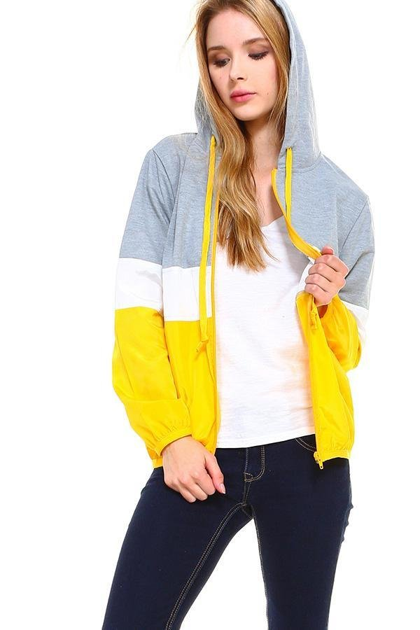 Two Tone Color Block Mesh Lining Windbreaker - Women's Clothing - NIGEL MARK